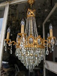 Antique Vnt Gigantic 6 Arms And Basket Crystal Chandelier Lamp Light 1940and039s Rare