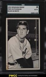 1952 Bowman Proof Black And White Fred Hutchinson Sgc Auth