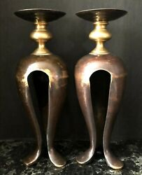 Pair Heavy Huge Gold Metal Candlesticks Holders 16 Tall Antique Vintage Brass
