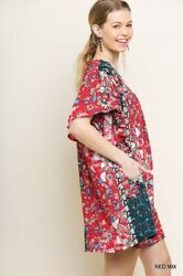 Sml Umgee Red Floral Ruffle Sleeves Side Pockets Dress/tunic Bhcs