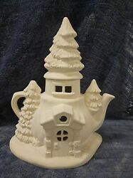 Alpine Teapot Tree Top Fairy House 12 Ceramic Bisque Ready To Paint