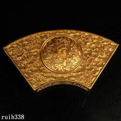 9.2 China The Qing Dynasty Pure Copper Gilt Manual Make Gold Inkstone