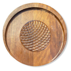 Vintage Unique Teak Charcuterie Meat And Cheese Board Round Wood Serving Tray