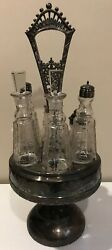 Antique Silverplate Repousse W/ 6 Glass Cruet Holder Shakers Condiment Etched