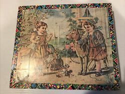 Vintage Antique Victorian Children Dog Litho Wooden Puzzle Blocks With The Box
