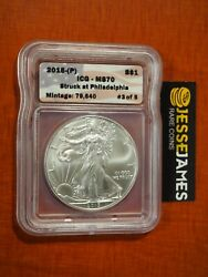 2015 P Silver Eagle Icg Ms70 And039struck At Philadelphiaand039 Mintage 79640 3 Of 5