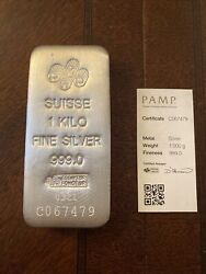1 Kilo Pamp Suisse Silver Cast Bar .999 Fine With Assay Card - In Stock
