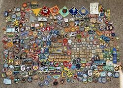 Huge Lot Of Boy Scout Patches, Pins, Belt Slides, Ribbons, Scout Cash-brand New