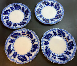 4 Johnson Brothers Normandy Flow Blue 8andrdquo Salad Plates Gold Accent