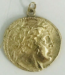 14k Gold Shekel Or Tyre Pendant Cast From Orig. Ancient Greek Biblical Coin L@@k