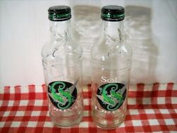 Two Vintage Glass Sobe Bottles Drive Empty With Cap 20 Oz.