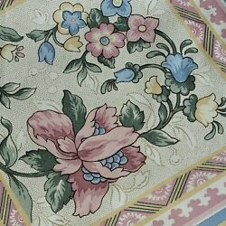 House N Home Fabric Vintage 20 Yards LOT Blue Pink Country Floral Shabby Drapes