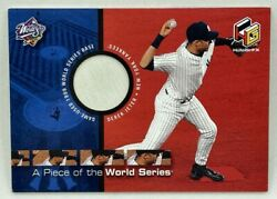 2000 Ud Hologrfx Derek Jeter A Piece Of The World Series Game Used 1999 Ws Base