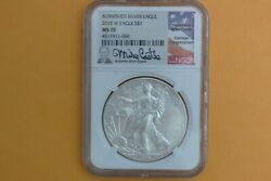 2015-w American Silver Eagle Burnished Ngc Ms70 Mike Castle Authentic Signature