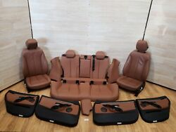 ✅ 15-17 Bmw F36 Door Panels Front Rear Heated Seats Leather Brown Interior Set