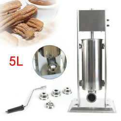 5l Stainless Steel Manual Churro Machine Commercial Home Restaurants W/4 Nozzles