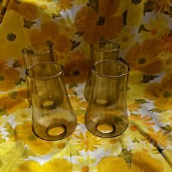 2 Vintage Mid Century Modern Smoked Glass Hurricane Lamp Shades Globes Sconce
