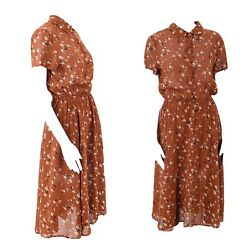 Brown Rayon Reformation Floral Print Viscose Prairie Sundress Dress L