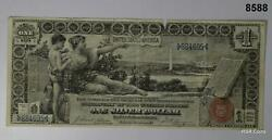 1896 1 Silver Certificate Large Educational Note Red Seal Edge Tear Vf 8588