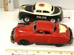2 Vintage Tin Metal Friction Police Cars White And Black S-6888 + Red Us Mp Japan