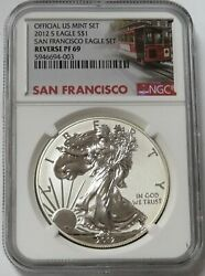 2012 S San Francisco Reverse Proof American Silver Eagle 1 Dollar Ngc Proof 69
