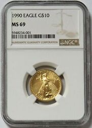 1990 Gold 10 American Eagle 1/4 Oz Coin Ngc Mint State 69