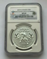 2010 Canada Silver Ngc Ms 69 Vancover Olympics Five Dollar 1 Oz 999 Silver Coin