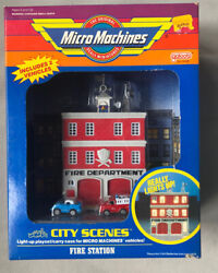 Vintage 1989 Micro Machines Light Up Fire Station City Scene 6468, New Sealed