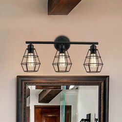 Bathroom Vanity Lighting Fixture Farmhouse Wire Cage Wall Sconce Iron Wall Lamp