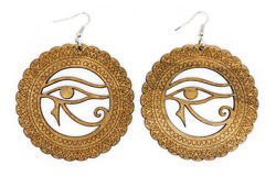 Tb Egyptian Eye Of Horus Wood Carved Cleopatra Wedjat Round Circle Drop Earrings