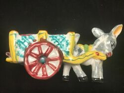 Vintage Italy Donkey And Cart Planter