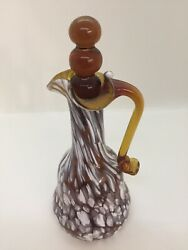 Art Glass Blown Decanter Amber White Clear Glass Swirl Accent With Stopper