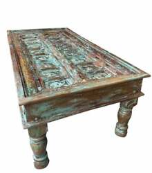 Distressed Blue Doors Coffee Table Rustic Chai Table Cocktail Table Home Decor