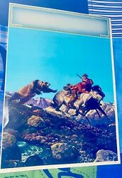 Antique Lithograph No.318 Action On The Trail Made In Usa Bear Attacking Cowboys