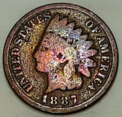 1887 Indian Head Penny Beautiful Chameleon Color Coin Rare Date 1c