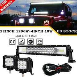 Tri-row 1296w 22 Led Light Bar +4 18w Pods Combo Offroad For Jeep Pickup Truck