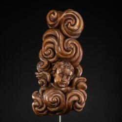 Angel Sculpture   Antique 1700s Wood Carving  18th Century Wooden Figure  31and039and039_