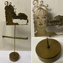 Vintage Art Deco Figural Woman Lady Brass Earrings Jewelry Counter Top Display