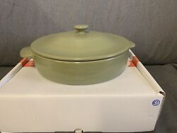 """Longaberger Sage Flameware Pottery 10 1/2"""" Braiser For Cooking And Serving New"""