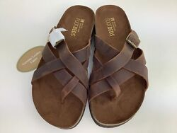 White Mountain Footbeds Hobo Women's Brown Genuine Leather Sandals Size 9 M $34.99