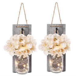 Besuerte Rustic Wooden Wall Hanging Decor With Led String Lights For Modern Room