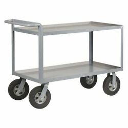 Zoro Select 5cha0 Steel Utility Cart With Lipped Metal Shelves, Flat, 2