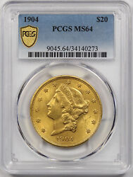 1904 Liberty Head Double Eagle Gold 20 Ms 64 Pcgs Secure Shield