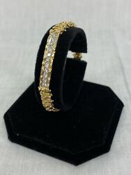 18kt Yellow Gold Nugget And Id Plate W/ Diamonds 7.25 Bracelet 27.4 Grams