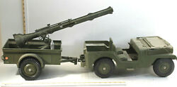 Vintage 1950s Marx Toys Mar Us Plastic Army Jeep + Trailer + Cannon W/ Shell Usa