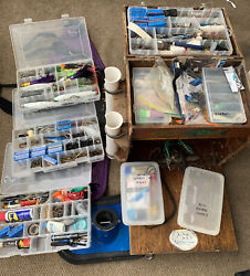 Vintage Wood Custom Made Tackle Box Full Of Fishing Lures Hooks Weights +belt ++