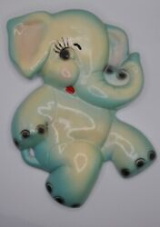 Vintage Chalkware Elephant Wall Hanging Plaque Blue Yellow