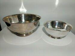 Silver Plate Lot Of Two Sizes Gorham Paul Revere Bowls Yc 779, Yc 781