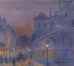 Marie Gabriel Biessy French Oil Painting View Paris Cour Saint-martin Crafts And