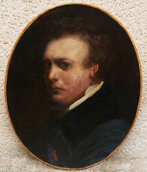 Attributed To Gustave Doré Painter French Oil Painting Canvas Oval Portrait Man